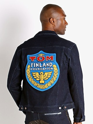 Model in indigo Cell Block 13 Tom of Finland Hustler Jacket Badge Patch