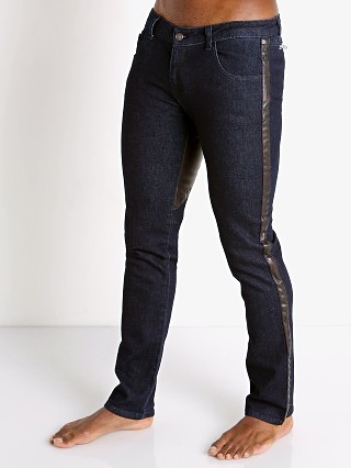 Model in indigo Cell Block 13 Tom of Finland Hustler Slim Fit Jean