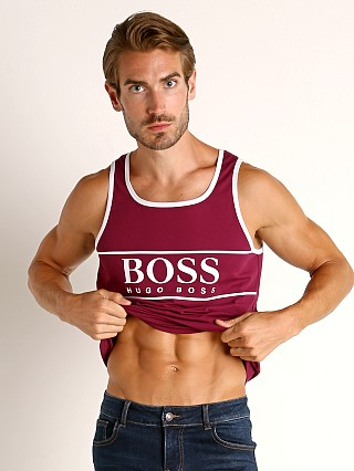 Model in plum Hugo Boss Beach Tank Top