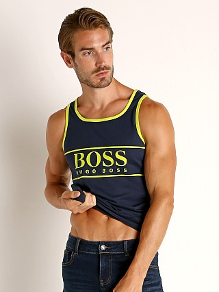 Model in navy Hugo Boss Beach Tank Top