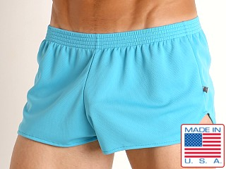Model in turquoise American Jock Elite Sport Jog Short