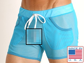 Model in turquoise American Jock Elite Sport Mesh Short