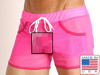 Model in pink American Jock Elite Sport Mesh Short