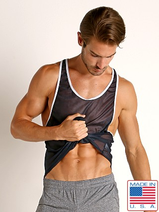 Model in navy American Jock Elite Sport Track Tank