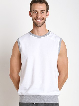 Model in white 2xist Modern Sport Embossed Muscle Sweatshirt