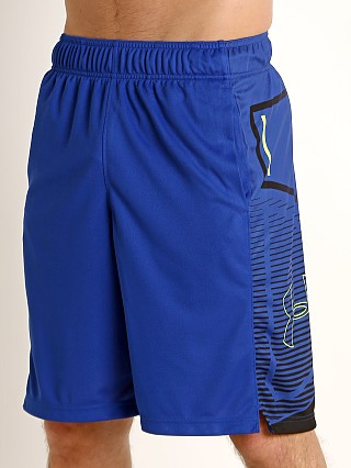 Model in royal/black Under Armour Baseline Practice Short