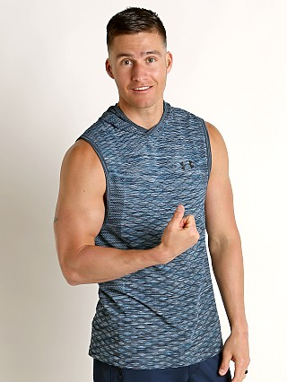 Model in ether blue/black Under Armour Vanish Seamless Sleeveless Hoodie