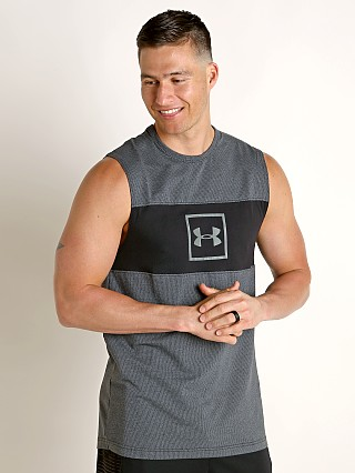Model in black/mod gray Under Armour Sportstyle Cotton Mesh Tank Top