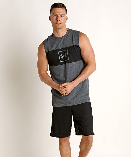 Under Armour Sportstyle Cotton Mesh Tank Top Black/Mod Gray