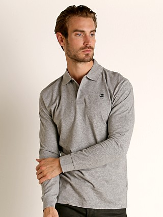 Model in charcoal heather G-Star Core Polo