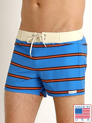 Sauvage Retro Vibe Striped Swim Trunk Royal