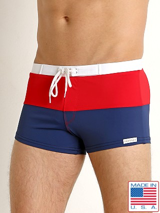 Sauvage Fitted Square Cut Swim Trunk Navy/Red/White