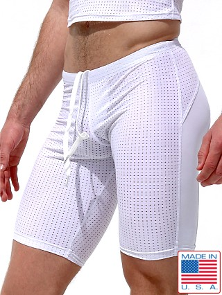 Model in white Rufskin Track Perfo-Mesh Swim/Cycle Shorts