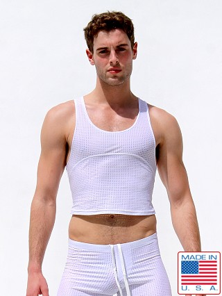 Model in white Rufskin Starter Perfo-Mesh Torso Tank Top