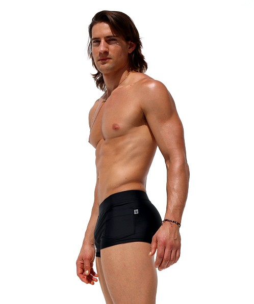 Rufskin Zeca Square-Cut Swim Trunks Black