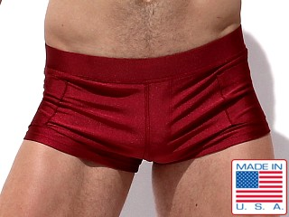 Model in burgundy Rufskin Zeca Square-Cut Swim Trunks