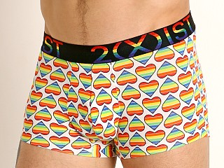 Model in bold hearts rainbow 2xist Pride No-Show Trunk