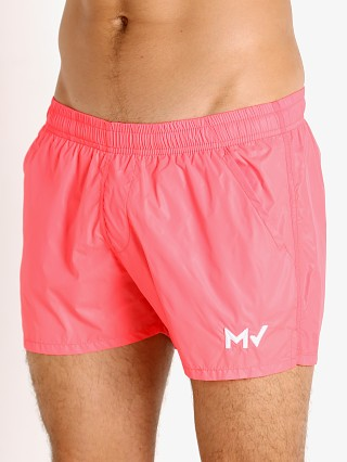 Model in watermelon Modus Vivendi Corn Pique Swim Shorts