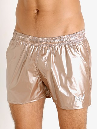 Model in rose gold Modus Vivendi Monochrome Swim Shorts