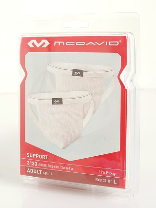 Model in white McDavid Swim Supporter 2-Pack