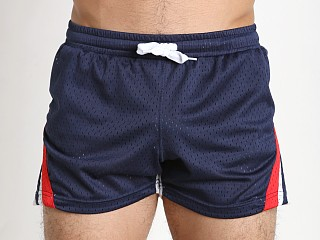 Model in navy/blue/white Jack Adams Relay Air Mesh Gym Short