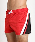Jack Adams Relay Air Mesh Gym Short Red/Blk/White, view 3