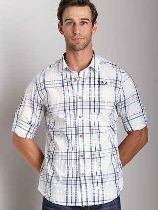Model in rank blue G-Star Rider Roll-Up Shirt