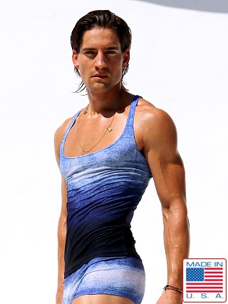 "Model in denim Rufskin Hank Printed """" Low Chest Tank Top"