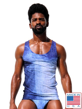 "Model in denim Rufskin Chip Printed """" Tank Top"