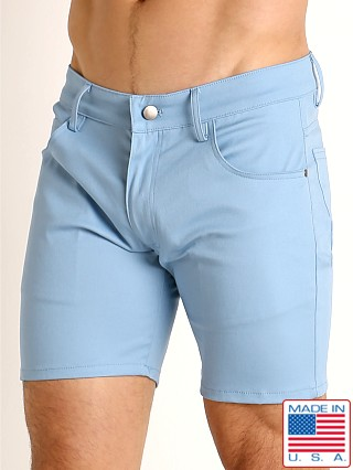 Model in sky LASC Cotton Twill 5-Pocket Shorts