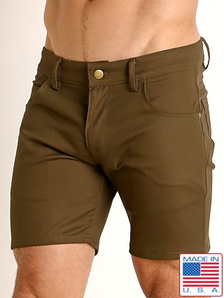 Model in olive LASC Cotton Twill 5-Pocket Shorts