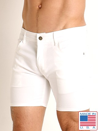 Model in white LASC Cotton Twill 5-Pocket Shorts