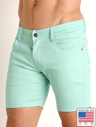Model in ocean LASC Cotton Twill 5-Pocket Shorts