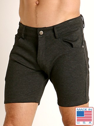 Model in charcoal LASC Stretch Jersey 5-Pocket Shorts