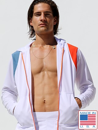 Model in white Rufskin Avalanche Hooded Sports Jacket