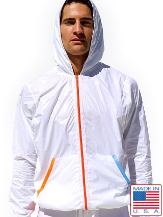 Model in white Rufskin Vento Nylon Windbreaker Hoodie