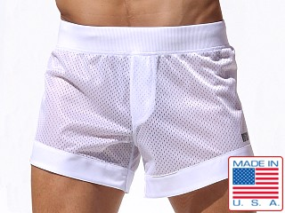 Rufskin Dunk Mesh Panel Sport Shorts White