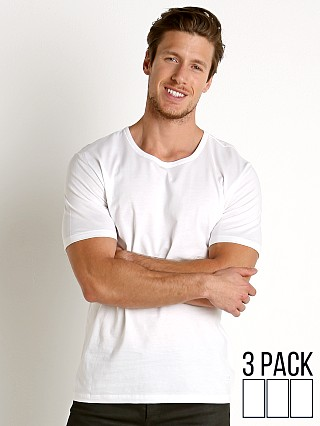 Model in white Hugo Boss 100% Cotton T-Shirt 3-Pack