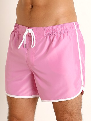 Model in fuchsia 2xist Ibiza Jogger Swim Shorts