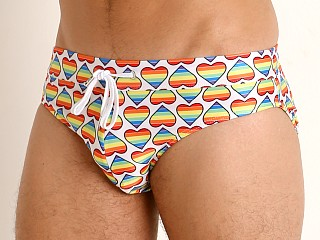 Model in bold hearts rainbow 2xist Pride Rio Sliq Swim Brief