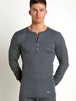 2xist Sport Tech Long Sleeve Henley Charcoal Heather
