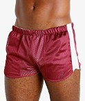LASC Reversible Athletic Mesh Shorts Burgundy/White, view 3
