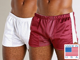 Model in burgundy/white LASC Reversible Athletic Mesh Shorts