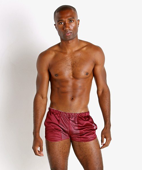 LASC Reversible Athletic Mesh Shorts Burgundy/White