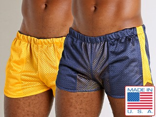 Model in navy/yellow LASC Reversible Athletic Mesh Shorts