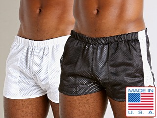 Model in black/white LASC Reversible Athletic Mesh Shorts