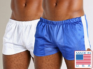 Model in royal/white LASC Reversible Athletic Mesh Shorts