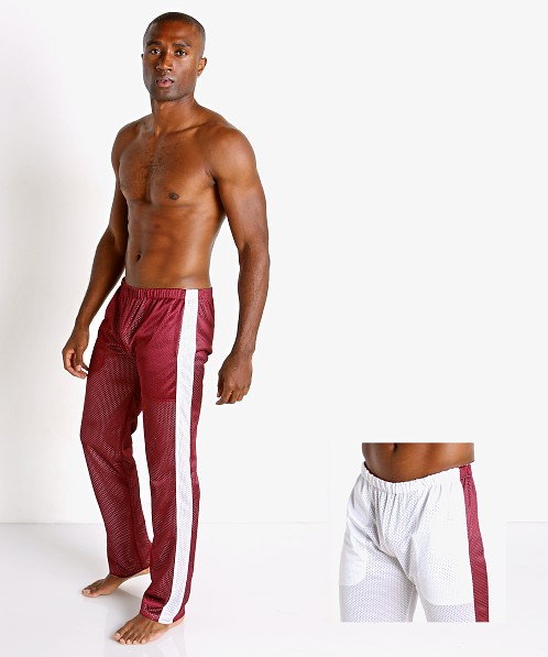 LASC Reversible Athletic Mesh Pants Burgundy/White