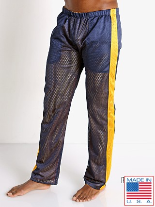 Model in navy/yellow LASC Reversible Athletic Mesh Pants