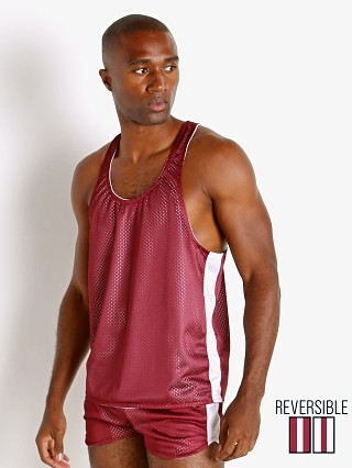 Complete the look: LASC Reversible Athletic Mesh Tank Top Burgundy/White